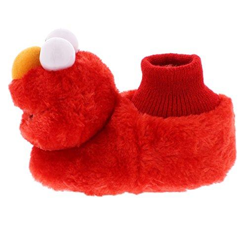 Sesame Street Elmo Little Kids Sock Top Slippers (3-4 M US Toddler, Laugh Red)