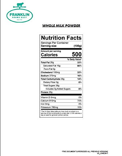 50 lb Whole Milk Powder - 28% Milk Fat - by Franklin Farms by Generic (Image #2)