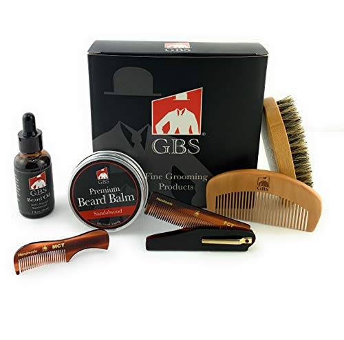 GBS Beard Brush,Comb,Balm,Oil,Mustache & Folding Comb Grooming And Conditioner Beard Care For Men – Best Facial Hair Combo For Home And Travel – Ideal For Dry or Wet And All Sizes & Beards Style + Bag
