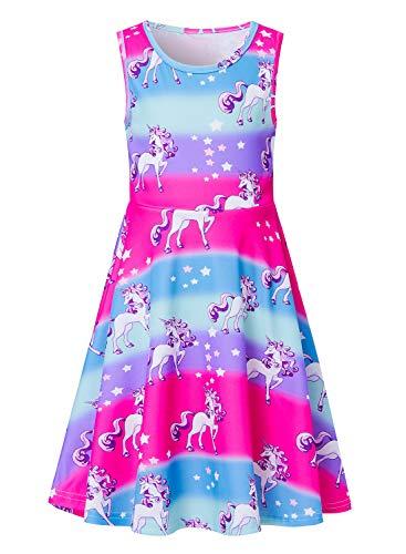 Big Girls Unicorn Dress Teens Sleeveless Summer Sports Casual Dresses Beach Party Sundress 10-13 Year Old