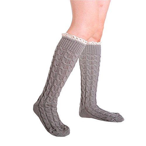 OVERMAL Women Winter Warm Knit Leg Warmers Crochet Leggings Twist Lace Slouch Boot Socks Description (Gray) Embellished Girls Socks
