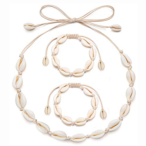 COMMINY 3 Pcs Natural Cowrie Shell Choker Necklace and Bracelet Set for Women Girls, Handmade Adjustable Seashell Necklace Anklets Boho Hawaii Beach Jewelry for Summer Vacation(Beige Rope)