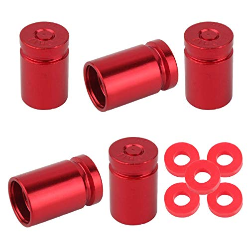 Winka 5Pcs Bullet Style Auto Car Truck Motocycle Bicycle Wheel Tyre Valve Caps Red ()