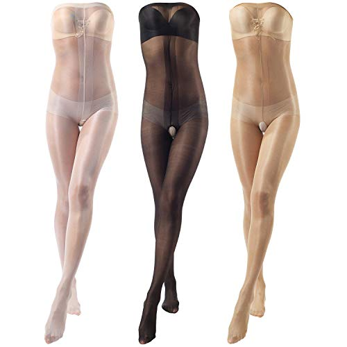 9ea947ab256 ElsaYX Women s Ultra Shiny Toe to Bust Crotchless Body Stocking Pantyhose  Lingerie
