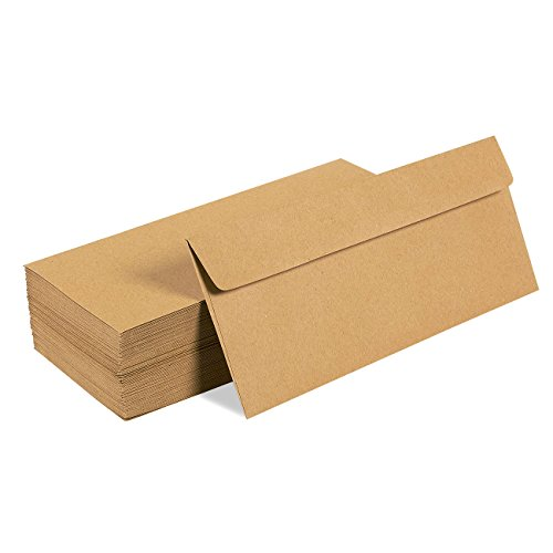 - Juvale 100 Pack #10 Kraft Business Envelopes - Value Pack Square Flap Envelopes - 4 1/8 x 9 1/2 Inches - 100 Count, Brown