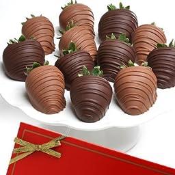 Dark & Milk Classic Belgian Chocolate Strawberries - 6 piece