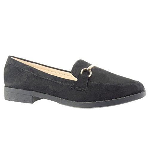 Angkorly - Chaussure Mode Mocassin slip-on femme boucle métallique Talon bloc 2 CM - Noir