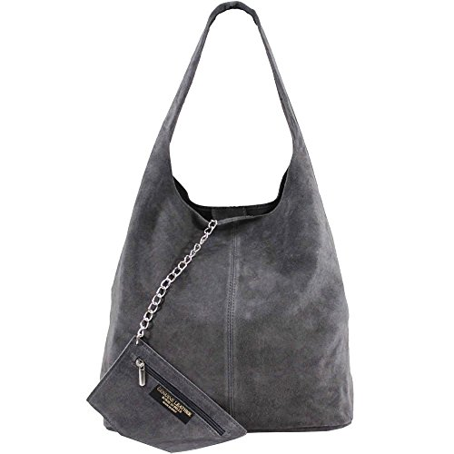 NEW WOMENS REAL SUEDE CHAIN ZIPPED PURSE LARGE SHOULDER HOBO BAG Dark Grey