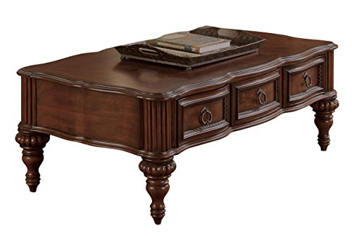 Homelegance Prenzo European Grand Design Cocktail Table with Three Drawers, Cherry
