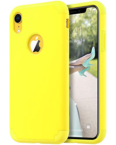 (ULAK iPhone XR Case Yellow, Slim Fit Hybrid Soft Silicone Hard Back Cover Anti Scratch Bumper Design Protective Case for Apple iPhone XR 6.1 inch 2018, Yellow)