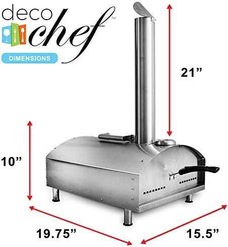 """Deco Chef Outdoor Pizza Oven with 2-in-1 Pizza and Grill Oven Functionality, 13"""" Pizza Stone, Portable Stainless Steel Construction, Pizza Peel, Dough Scraper, Scoop, Slotted Grill"""