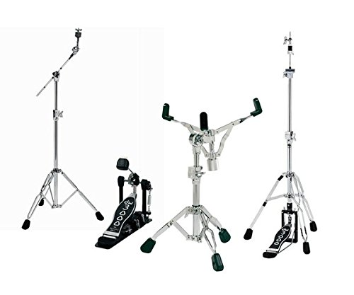 DW DWCP3000PK Drumset Hardware Pack with 3300 Snare Drum Stand, 3500 Hi-Hat Stand, 3700 Boom Cymbal Stand and 3000 Single Bass Drum Pedal