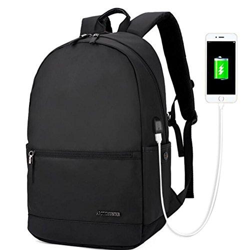 Geschäft Notebook Computer Rucksack USB Ladung Hafen Leichtgewicht Wasserdicht Oxford-Stoff Männer / Damen Reisen Tagesrucksack 18 inch black j5nGjt