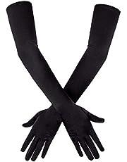 "SAVITA Long Black Elbow Satin Gloves 21"" Stretchy 1920s Opera Gloves Evening Party Dance Gloves for Women"