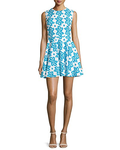 DVF Blue Flare Jeannie Leaf Giant Dress Fit Floral Cotton amp; rxOqwPrgCp