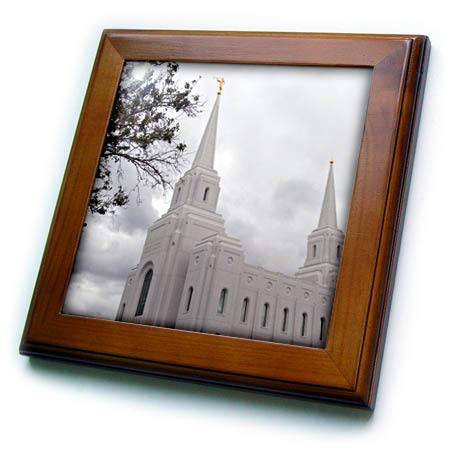 3dRose Jos Fauxtographee- Brigham Temple - The Church of Jesus Christ Temple in Brigham City Utah - 8x8 Framed Tile (ft_317921_1)