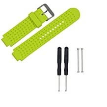 Xberstar Replacement Silicone Watch Band Strap for Garmin Forerunner 220 230 235 630 620 735 Watch With Pins & Tools (Lime Green)