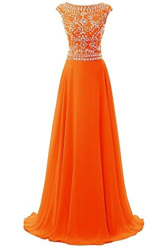Women's Long Scallop Bead Chiffon Prom Dresses Formal Evening Gown Orange US6