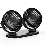 12V Electric Car Fan, USB 360° Degree Rotatable 2 Speed Dual Head Fan,All-Round Portable Car Vehicle Truck Air Fan Adjustable Cooler Cooling,Car Auto Cooling Air Circulator Fan