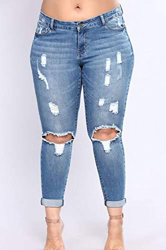 Taglia Fasumava Donne Strappati Le Di Occasionale Pantaloni Blu Primavera Autunno Jeans BubGLdJjaitk pRR0nwqTW
