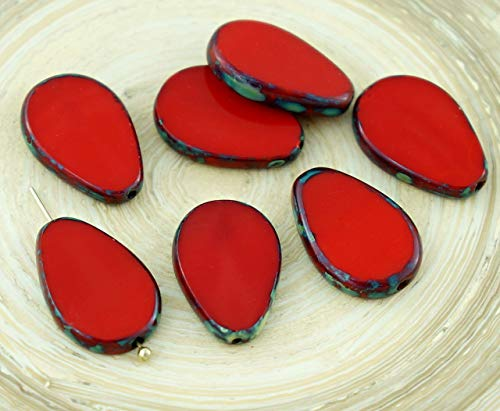 4pcs Picasso Brown Opaque Red Flat Teardrop Window Table Cut Czech Glass Beads 18mm x 12mm