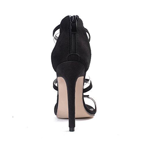 colorata in Fine tacco nero sottile con alto nero tacco sexy sandali una sandali pasta trasparente con fine ZHZNVX con 39 pellicola alto Oq7Od