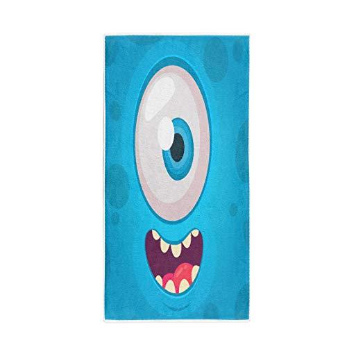 Pinbeam Bath Towel Colorful Funny Monster One Eye Face Halloween Cartoon Towel Beach Towel