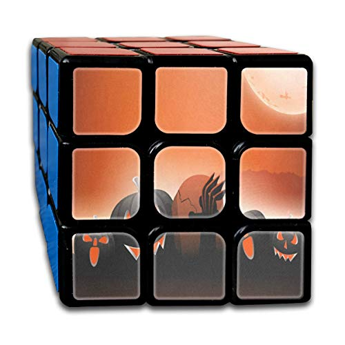 Scary Pumpkins On Shiny Halloween Fantastic Speed Cube 3x3 Smooth Magic Square Puzzle Game Black]()