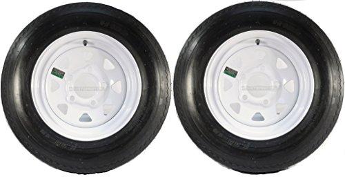 eCustomRim Two Trailer Tires On Rims 5.30-12 530-12 5.30 X 12 5 Hole Wheel White Spoke