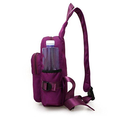 Vin beauty Moda Mujer Nuevo Nylon Gran capacidad Crossbody impermeabiliza el pecho duradero diario Bolsa de hombro púrpu #1