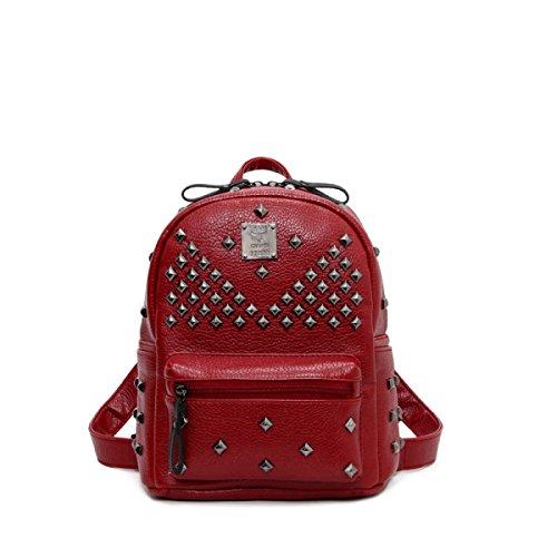 Mochila De Señora Mochila De Moda Remaches Paquete De Estudiantes Bolsa De Viaje Casual,Blue Red