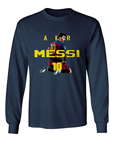 NAVY Lionel Messi FC Barcelona AIR Soccer Men's Long Sleeve T-Shirt – DiZiSports Store