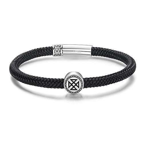 (Carleen Eternity 925 Sterling Silver Genuine Mens Leather Bracelet Braided Rope Energy Charm Magnetic Clasp, 8.3