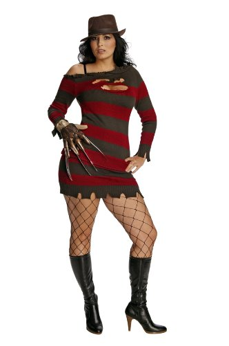 Secret Wishes Nightmare On Elm Street Miss Krueger Costume, Brown/Red, One Size (Scary Woman Halloween Costume)