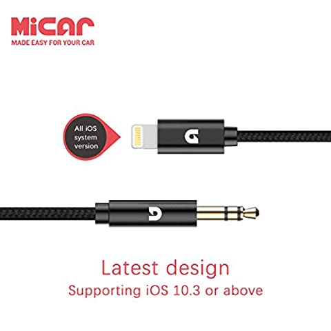 MiCar Lightning to 3.5mm Male Aux Stereo Audio Cable, Premium Nylon Car Aux Cable for iPhone 7 / 7 Plus, Supporting iOS 10.3 or above (Ipod To Audio Cable)