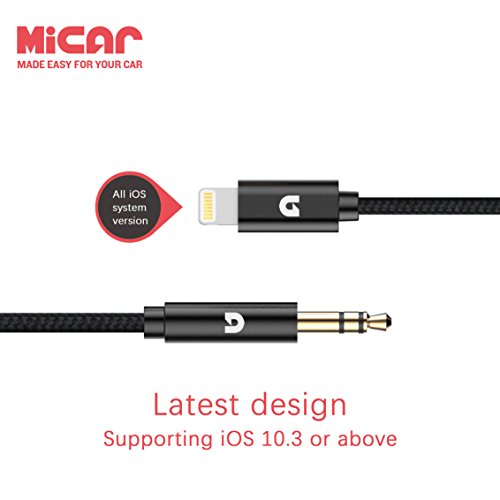 MiCar Lightning to 3.5mm Male Aux Stereo Audio Cable, Premium Nylon Car Aux Cable for iPhone 7 / 7 Plus, Supporting iOS 10.3 or above (3ft)