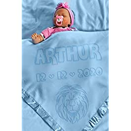Lion Blanket for Baby Blue Personalised with Birth DetailsSize 88x88CM