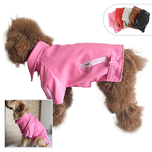 Lovelonglong Cool Dog Leather Jacket, Warm Coats Dogs Windproof Cold Weather Coats for Large Medium Small Dogs, Black Brown Red Colors (XS, Pink Rose red)