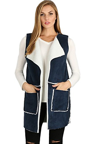 ARIS Ultra Soft Cozy Chic Shearling Sherpa Faux Suede Vest Jacket Bundle: Top & Storage Bag (S/M, ()