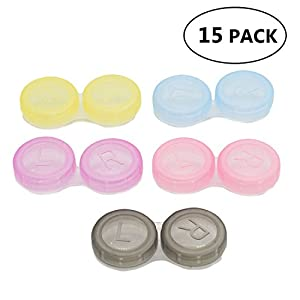 HUELE 15 Pack Colourful Contact Lens Box Holder Container Case Soak Storage Eyecare Kit