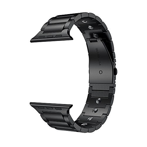 le Watch Band 44mm/42mm, Magnetic Therapy Stainless Steel Metal Link Bracelet Bands Compatible Apple Watch Series 4/3/2/1, Black ()