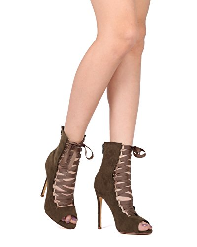 Scarpe Da Donna Alrisco In Ecopelle Scamosciata Con Peep Toe In Gros Grain - Hg77 By Liliana Collection Oliva Faux Suede