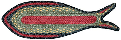 EarthRugs F-238 Fish Shaped Rug, 9 by 26-Inch, Burgundy/Olive/Charcoal