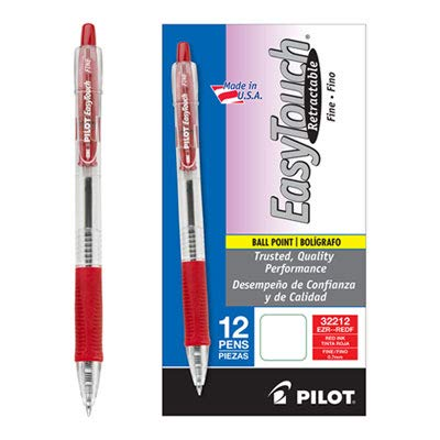 Pilot EasyTouch Retractable Ballpoint Pen, Fine Point, 0.32 mm, Clear Barrel, Red Ink, 12-Count (32212)