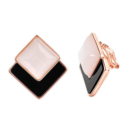 White Enamel 18k Gold Overlay - vogem Fashion Clip on Earrings for Women White and Black Square Enamel 18K Rose Gold Plated Jewelry Gift