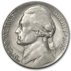 1940 S Jefferson Nickel BU Nickel Brilliant Uncirculated ()