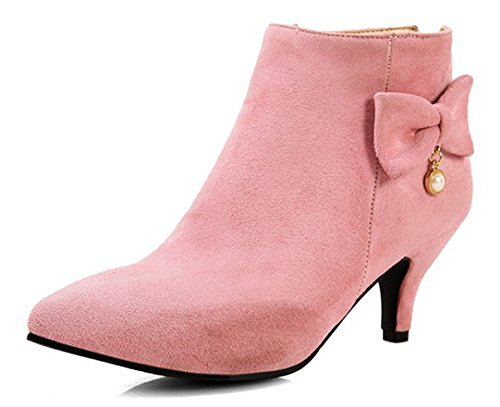 (SFNLD Women's Elegant Pointed Toe Kitten Heel Back Zip Ankle Boots with Pearls Pink 6 B(M) US)