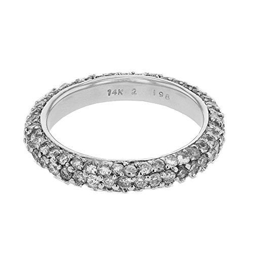 - 18K White Gold Round Band Ring (2.04 ctw, H-I Color, I1 Clarity)