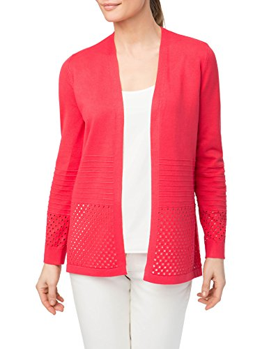 89th + Madison Womens Hole Punch Open Front Cardigan, Candy Apple, Small