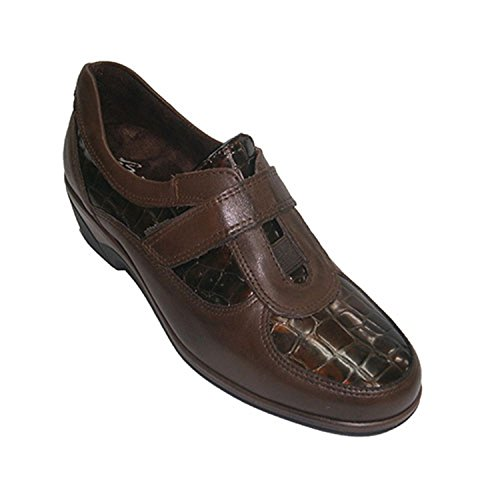 Scarpe velcro combinati vernice e cocco Pitillos marrone